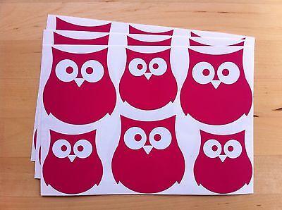 18 OWL STICKERS vinyl ANY COLOUR,car,LAPTOP,wall,TILE,wheelie bin,BIRD,decal
