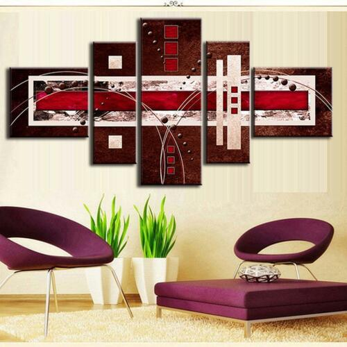 Framed Abstract Wall Art Brown Red Lines Canvas Print Painting Home Decor 5 PCS