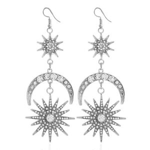 Moon-Star-Rhinestone-Crystal-Dangle-Long-Hook-Women-Earrings-Elegant-Gold-Silver