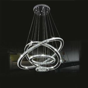 Modern galaxy big crystal 4led round ring pendant lamp ceiling image is loading modern galaxy big crystal 4led round ring pendant aloadofball Choice Image
