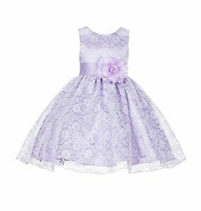 Wedding-Floral-Lace-Overlay-Flower-girl-dress-Easter-Birthday-Christmas-Party