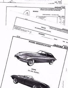Details about JAGUAR XKE COUPE OPEN CAR BODY PARTS LIST FRAME CRASH SHEETS  MFRE 3