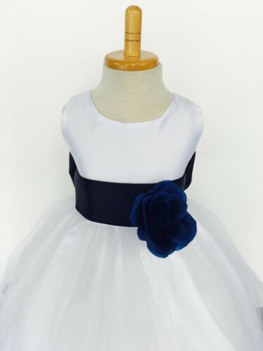 Flower Girl White Tulle Dress ALL SIZES Teal Rose Petal Easter Fall Pageant #24