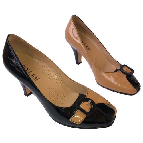 ANYI LU Patent Leather Peep Toe Pump TWO COLORS Croc & Smooth Womens 37.5 7.5