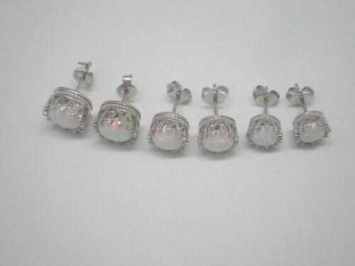 AAA Fire Opal op17 6-7-8mm Classic Crown .925 Sterling silver Stud Earrings