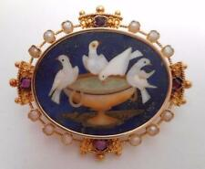 SUPER 18K GOLD Victorian Pietra Dura  brooch w/ pearls and rubies  Pliny's Doves
