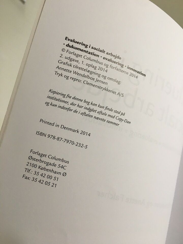 Evaluering i Socialt arbejde, Peter Bundesen og Anette
