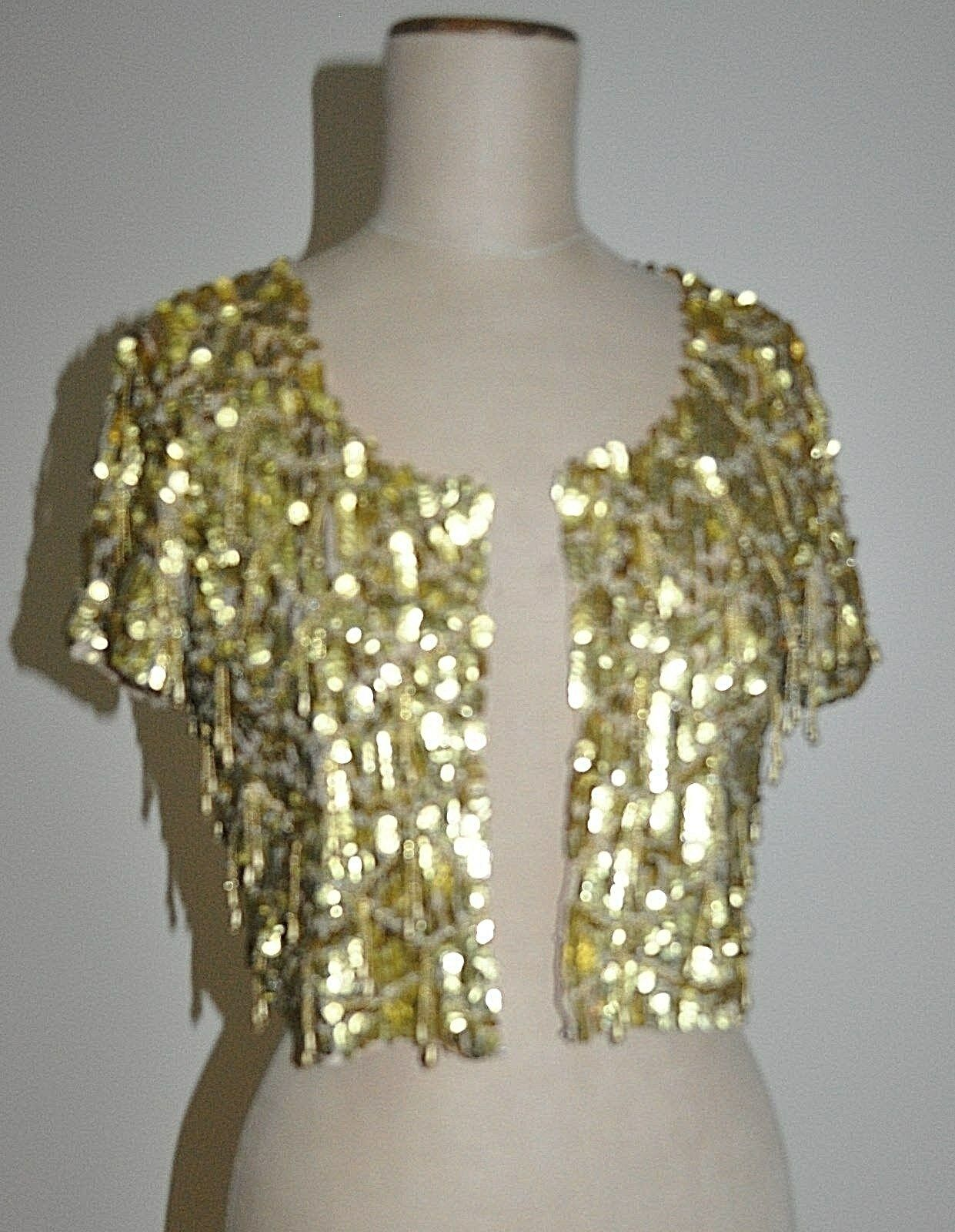 BEBE Design Sequin & Bead Evening Jacket Top