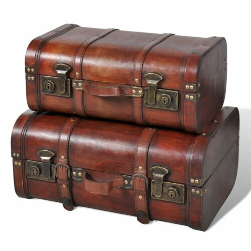 1 of 1 - B#Brown Vintage Wooden Treasure Box Storage Trunk Chest 2 x Wooden Trunk