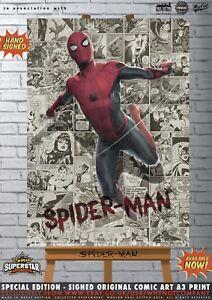 Spider-Man-Spiderman-Tom-Holland-Infinity-War-Comic-SUPERSTAR-A3-Signed-Print