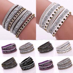 JN-Faux-Leather-Wrap-Wristband-Cuff-Punk-Crystal-Rhinestone-Bracelet-Bangle-H