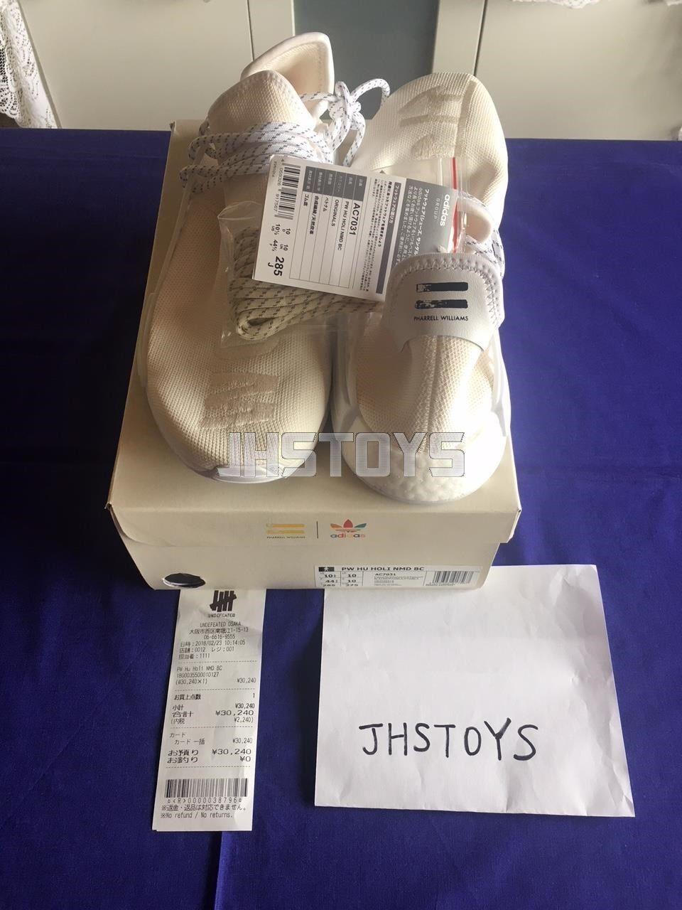 9a3e218cbe77b US 10.5 adidas Pharrell HU Human Race Holi Blank Canvas Cream White ...