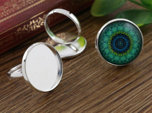 10pcs Light Silver Plated Adjustable Ring Blank//BaseFits 20mm Cabochon
