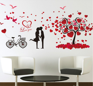 Romantic Love Tree Couple Birds Bicycle Wall Stickers Bedside Mural Decal Decor