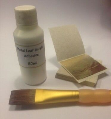 Gold leaf Kit- 50 Gold sheets, 50ml adhesive and brush. Christmas Gilding Design