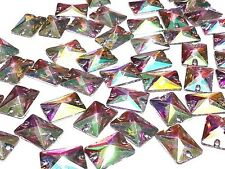 CraftbuddyUS 50pc AB Clear 18X13mm Rectangle Resin Sew On Diamante Crystal Gems