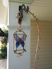 "NEW BUTTERFLY SUN CATCHER STAINED GLASS & 20"" COPPER HANGER WINDOW DECORATION"