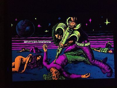 The Pusher Man Psychedelic Art Blacklight Poster Woodstock Pot Weed Drugs