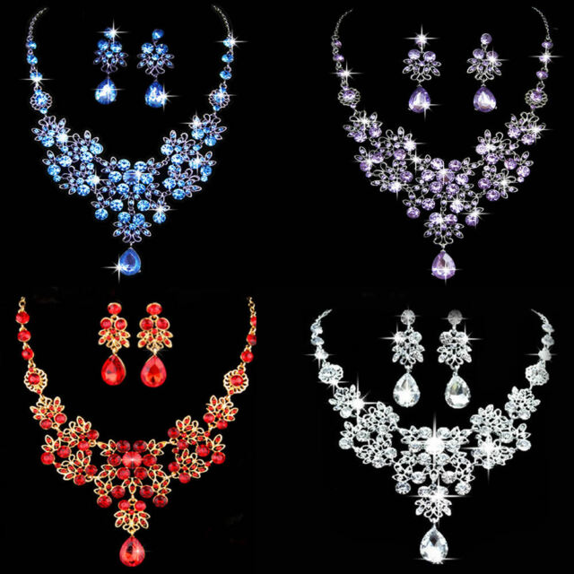 Bridal Wedding Party Crystal Rhinestone Pendant Necklace & Earrings Jewelry Sets