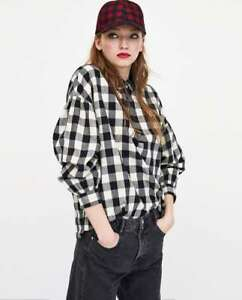 5bb435ed5c6c9 Details about ZARA Gingham Checked Shirt Long Sleeve Sequinned Collar New  Top Sizes  L  XL