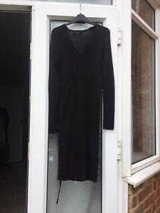All-Saints-Black-100-Wool-V-Neck-Jumper-Dress-Size-Medium-Fitted-Dress-B34