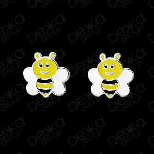 Genuine-925-Sterling-Silver-Bee-Stud-Earrings-Mini-Studs-Girls-Children
