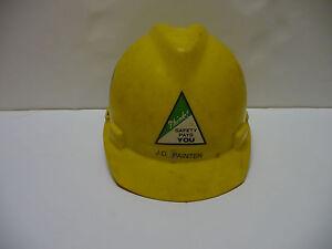Vintage MSA Safety Hard Hat Ratchet Suspension V-guard, Yellow