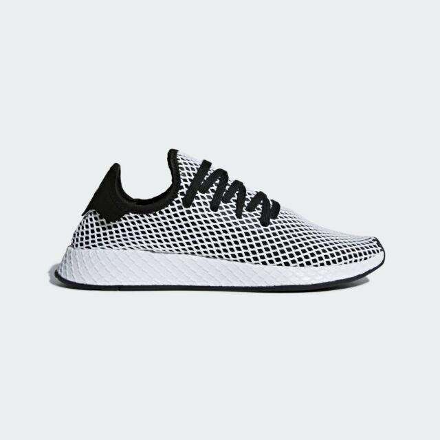 f61f4c25c2e Mens Adidas Originals Deerupt Runner Mesh Trainers Shoes Black White Blue  CQ2626