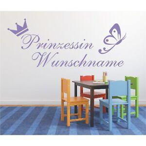 Wandtattoo-Prinzessin-Wunschname-Krone-Schmetterling-Sticker-Wandaufkleber-4