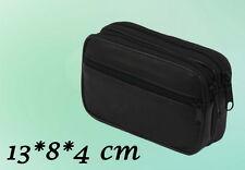Herren Tasche Echtes Leder Gürteltasche Schwarz 11 x 13 x 4 cm