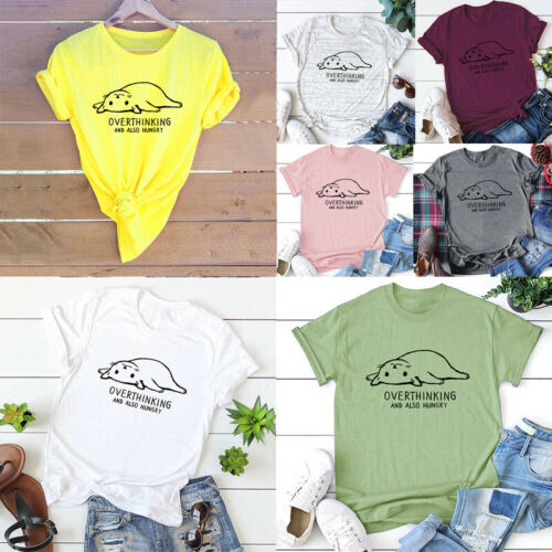 Plus Size Summer Women Cat Letters Printed Casual Tops Tee T-Shirt S-5XL R9V8