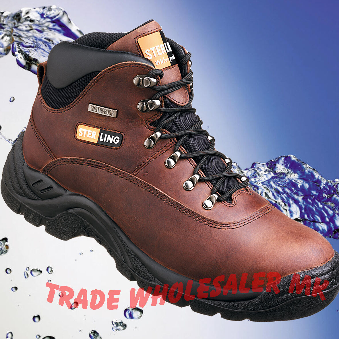 Safety boots Sterling SS813 Waterproof Steel Toecap Tan Safety Work boots
