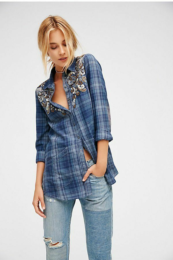 Free People Stevie's Embellished Plaid Buttondown-L- MSRP