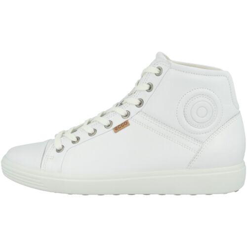 Ecco Soft 7 Mid Ladies Schuhe Damen Leder Halbschuh Sneaker white 430023-01007