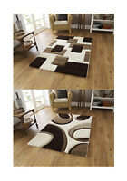 Large Contemporary Shaggy Pile Floor Rug Decorative Hand Carved Home Furnishings