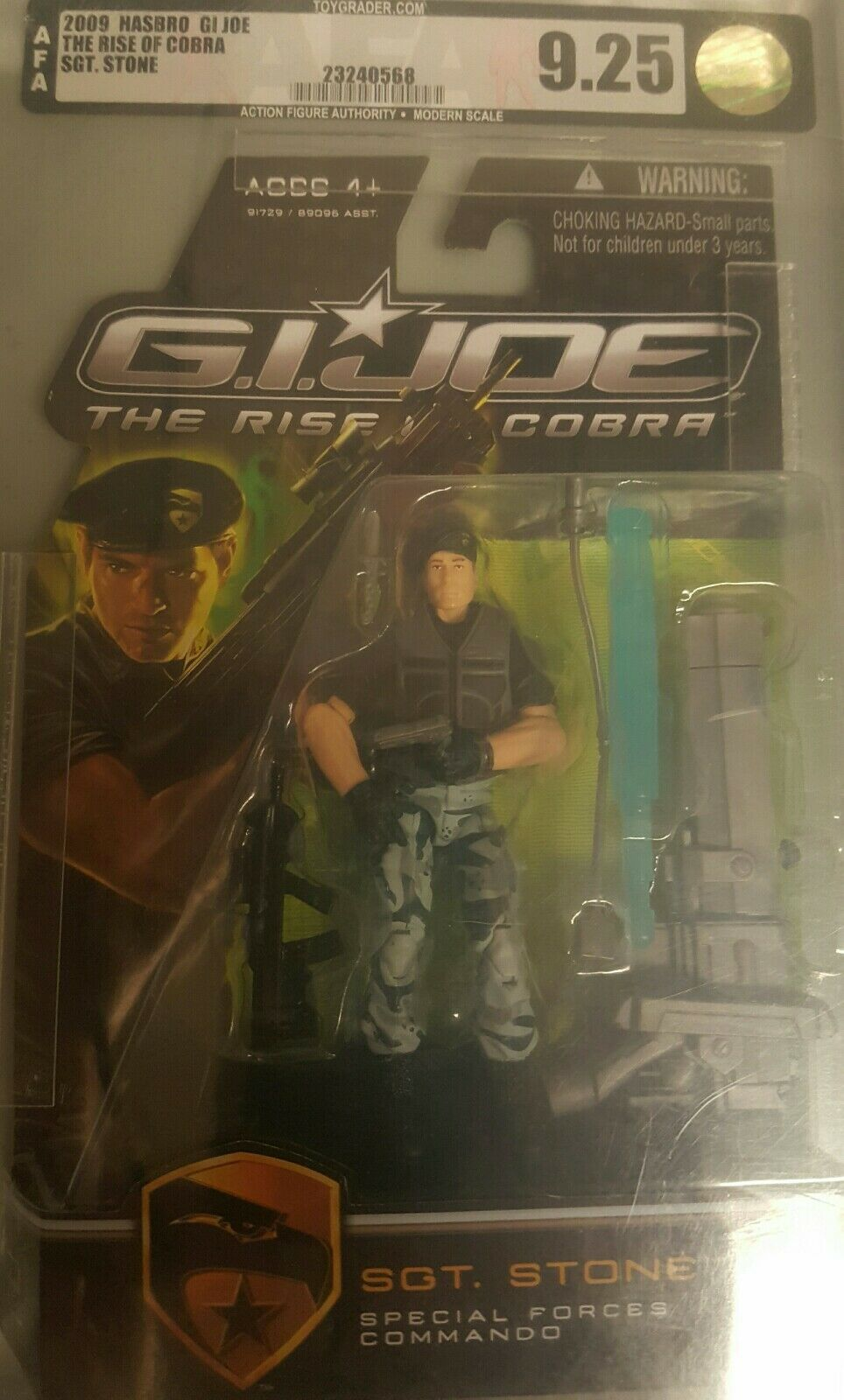 2009 Hasbro Gi Joe The Rise Of the Cobra AFA Graded Sgt Stone AFA 9.25