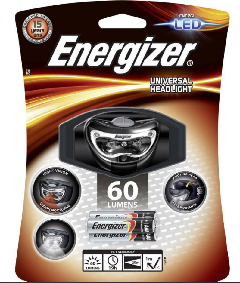 Energizer frente lámpara lámpara de cabeza 3 LED headlight 60 lúmenes incl. 3 x AAA batería
