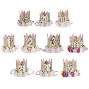 Prinzessin-Baby-Girl-1-Geburtstag-Blumenkrone-Party-One-amp-zwei-Jahr-Hairband-HV
