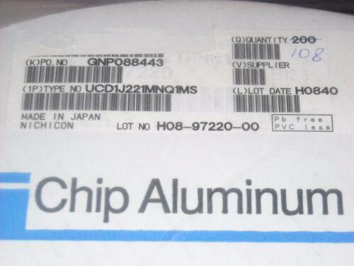 Nichicon Aluminum Electrolytic Capacitor 63volts 220uF UCD1J221MNQ1MS 20 PCS