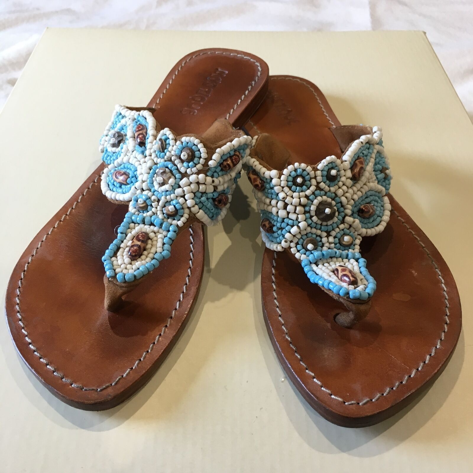 MYSTIQUE TURQUOISE WHITE BEADED JEWELED BROWN LEATHER THONG FLAT SANDALS 9
