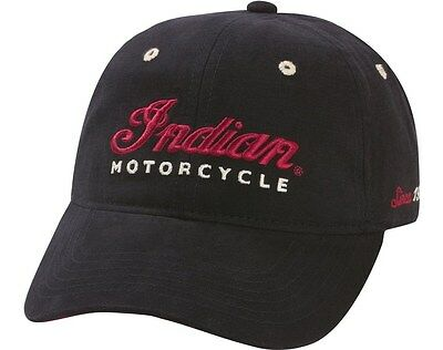 NEW INDIAN MOTORCYCLE BLACK LOGO HAT CAP ONE SIZE FITS MOST CHIEF RED SCRIPT OS