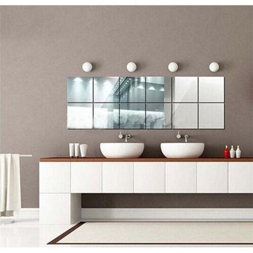 9 16pcs Carre Miroir Carreaux Autocollant Mural 3d Autocollant Auto Adhesif Decoration Maison Moderne