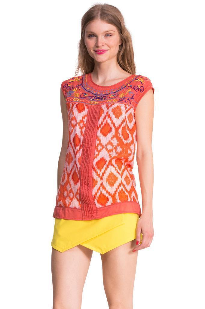 DESIGUAL BY L ARVEL BLOUSE TOP S-XXL 10-18 RRP CORAL EMBROIDErot  LACROIX