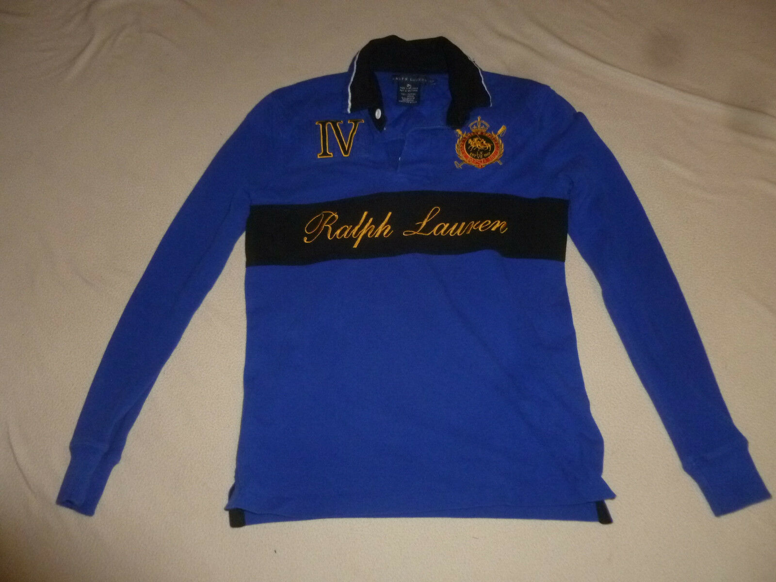 POLO RALPH LAUREN CHALLENGE CUP IV LONG SLEEVE SHIRT SIZE S MENS VINTAGE blueE