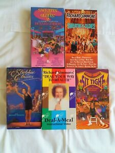Richard-Simmons-VHS-Lot-of-5-VHS-Sweating-to-the-Oldies-1-amp-2-Sit-Tight-Stretch