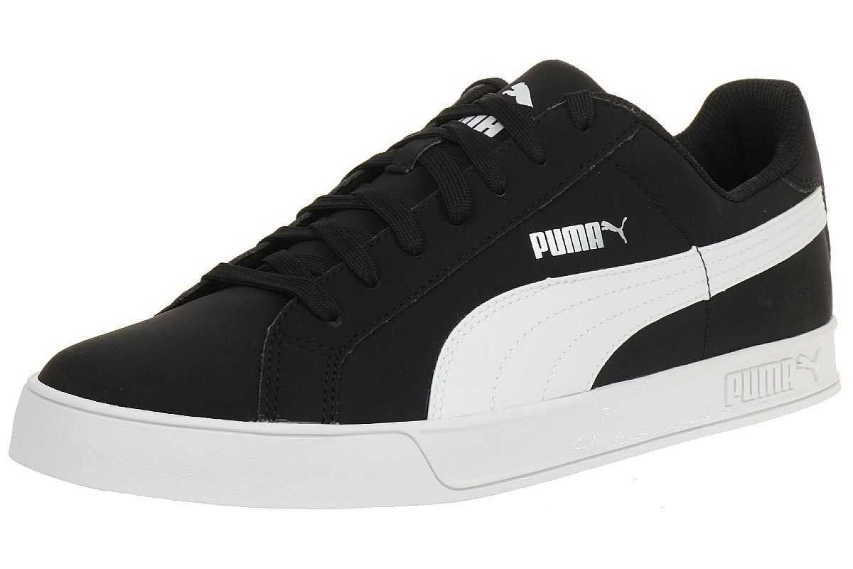 Puma Herren Smash Vulc Leder Turnschuhe 359622-09 Schwarz Weiß