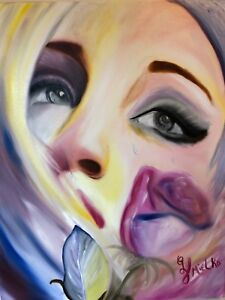 NEW-Beautiful-Crying-Sad-Woman-Contemporary-Painting-Heartbreak-and-Loss