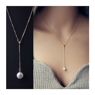 Fashion necklace Y shape chain pearl pendent for office| party | fun wear