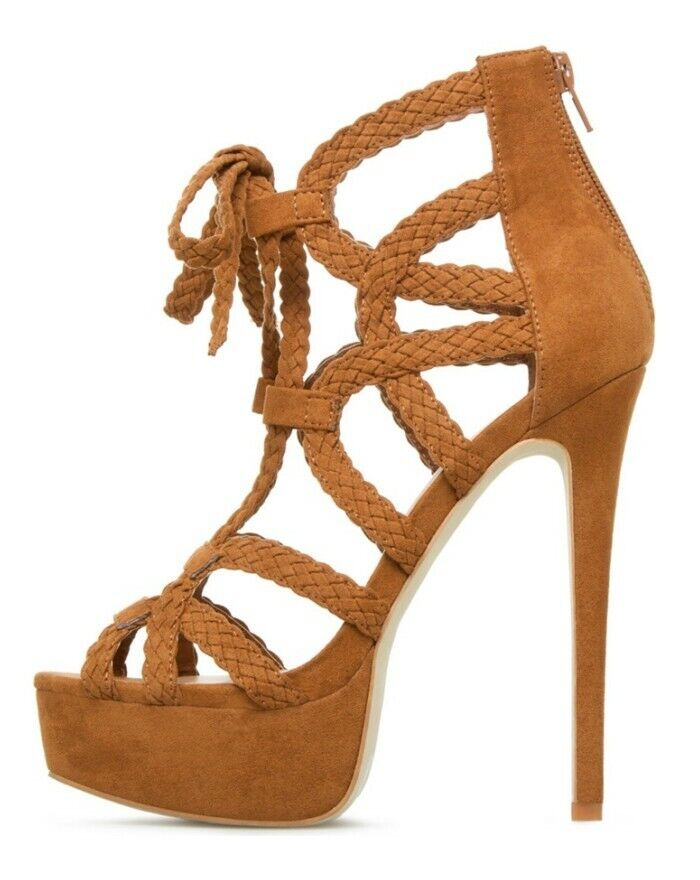 Womens Woven Peep Toe Strappy Hollow Gladiator High Heels Party shoes Sandals
