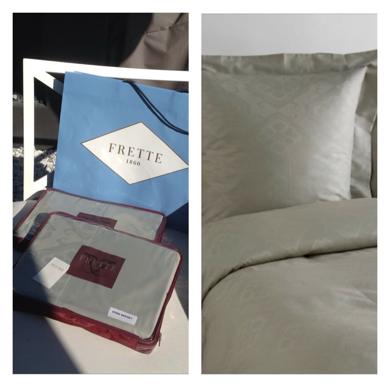 3K FRETTE CAPRILLO BORDER K SHEET SET & KING DUVET-NIP 7 PIECES